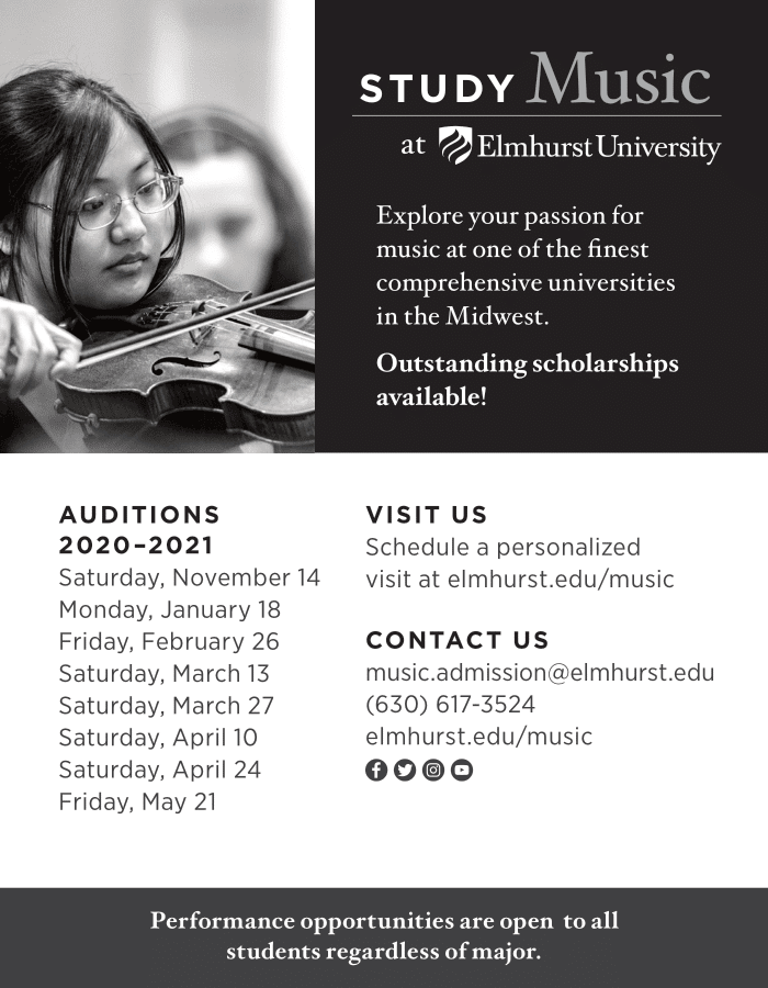 Elmhurst University Ad – Quarter BW-1